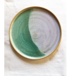 Assiette Corbara - grès effet de cuisson vert céladon