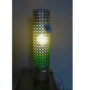Lampe Eugénie Acier Argent / Papier Vert